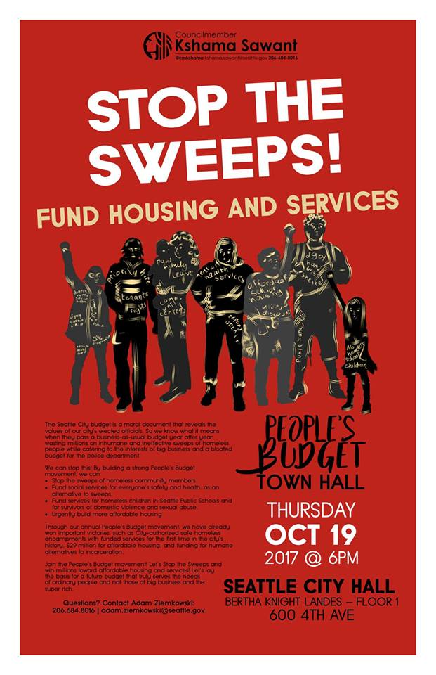 People's Budget 2017 - Stop the Sweeps! Fund Housing & Services @ Seattle City Hall | Seattle | Washington | United States